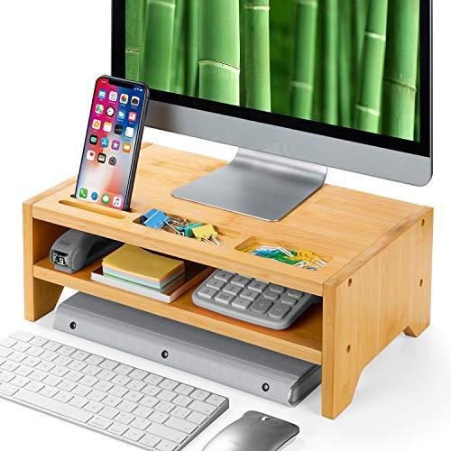 Amada 2 Tiers Bambus-Monitorständer mit Smartphone-Halterung & Platz für Stifte, für Computer im Heimbüro, Laptop, TV, Tablet, Drucker, Projektor