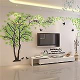 DIY 3D Riesiger Baum Paar Wandtattoos Wandaufkleber Kristall Acryl Malen Wanddeko Wandkunst (L, Grün, Recht)