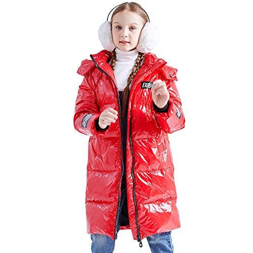 LSHEL Kinder Mädchen Daunenjacke, Verdickung Lange Jungen Winterjacke, Leichte Steppjacke Dauenmantel mit Kapuzen, Rot, 146