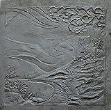 Lunaway - Placa de chimenea de hierro fundido con paisaje | Dimensiones: 60 x 60 cm | Grosor 1 cm