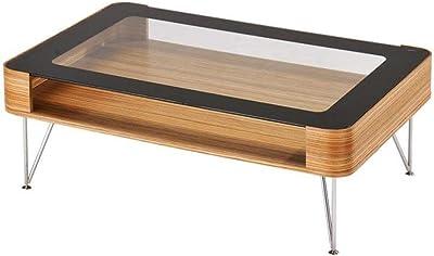 Zine Scandinavian Small Rectangular Coffee Table 90cm - Wooden Frame - Glass Top