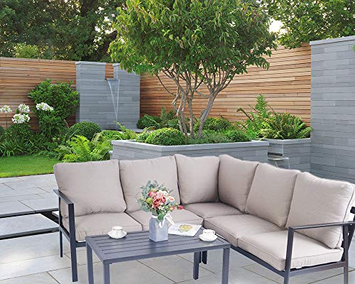 Kozyard 4 Pieces Outdoor Sofa Set with Strong Metal Frame and Comfortable Cushions, Perfect as Patio Furniture Conversation Sets, Garden Bistro Set (Beige)