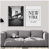 FUXUERUI Nordic Manhattan Bridge Nueva York Cotizaciones Lienzo Pintura Carteles Impresiones Arte de la pared Imágenes para la decoración de la sala de estar,50x70cmx2 sin marco