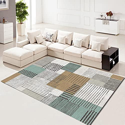 SunYe Alfombra Minimalista Moderna Líneas Irregulares Tapetes Rectangulares Adecuados para Dormitorios Pasillos Tapetes Gruesos Y Lavables Antideslizantes para Ventana Salediza