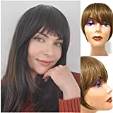 Clip in Bangs - Synthetic Hair Bang Extensions, Realistic & Attractive Air Fringe Clip On Bangs - Faux Bangs Hair Clip, Fake Hair Bangs with Temples for Women (#16/10 Light Brown W/Highlights)