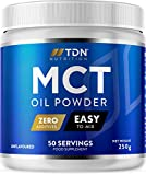 MCT Oil Powder - Large 250g Tub - 50 Servings - Easily Absorbed and Digested - Easy to Mix - Keto Creamer - Vegan Friendly - Ideal for Keto Snacks and Coffee - Made in UK by TDN