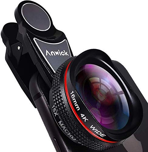 Cell Phone Camera Lens Kit Pro, 4K HD 2 in 1 120°Wide Angle Lens, 15X Super Macro Real-Time External Lens, Clip-On Smartphone Camera Lens for iPhone, Samsung, Pixel, Android
