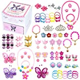 Elesa Miracle Little Girl Kids Wood Jewelry Box and 75 Pieces Girl Princess Jewelry Dress Up Accessories Toy Playset Set