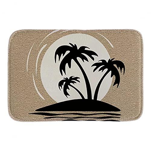 Tapis de bain tapis Clipart de plage paillassons décoratifs pour la maison noir et blanc intérieur doux tapis de porte de salle de bain tapis de sol en peluche court Décoration d