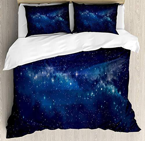 Ensemble housse de couette Star King Size, au cœur de l'espace mystérieux Thème Bleu foncé, ciel de minuit, inspiration céleste, décoratif, ensemble de literie de 3 pièces avec 2 taies d'oreiller, ble