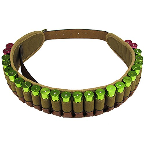 Read About Tourbon Hunting Adjustable 12 Gauge Shotshell Holder Cartridge Belt - Canvas and Leather