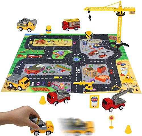 yoptote Construction Vehicles Playset with Play Mat and Excavator Toy Pull Back Cars Toy with Road Signs Dump Truck Toys Construction Toys for 3 Year Old Boys