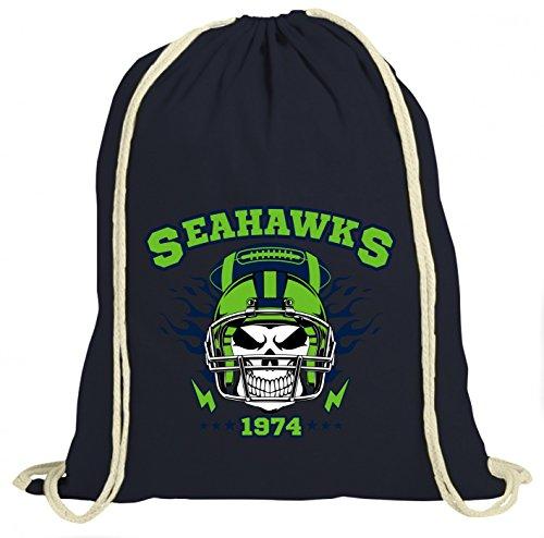 Shirt Happenz Seahawks Skull Premium Turnbeutel | American Football | Totenkopf | Football-Helm | Unisex | Gymbag, Farbe:Navyblau (Gymbeutel);Größe:37cm x 46 cm