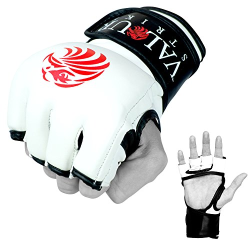 Valour Strike Pro MMA Gloves Sparring Black Grappling Muay Thai Mitts Combat Fighting Mixed Martial Arts Mitten Boxing Cage Kickboxing Glove (Large)
