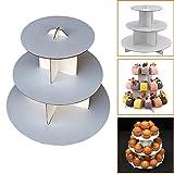 "3-Tier White Round (12""W x 10""H) Cardboard Cupcake Stand Dessert Tower Treat Stacker Pastry Serving Platter Food Display"