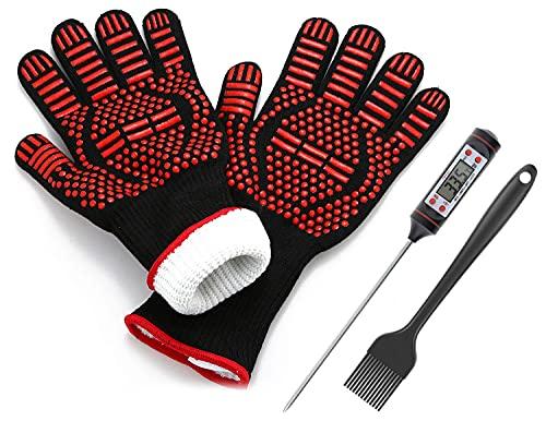 JATrade Grillhandschuhe Ofenhandschuhe inkl. Grillthermometer u. Marinierpinsel, Backhandschuhe Topfhandschuhe für Grill Dutch Oven, Handschuhe hitzebeständig bis zu 800C, Grillen Smoker Zubehör