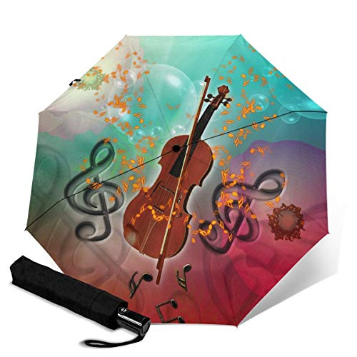 Violine mit Violinenbogen Regenschirm Winddicht Reise-Regenschirm Automatischer Öffnen/Schließen, kompakter Faltbarer Regenschirm Weiß Violine mit Violinenbogen Einheitsgröße