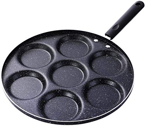 hwljxn Multifuncional Hogar Negro Siete-hoyol Nostick Pan práctico Tortilla Panqueques Huevo Dumpling Hamburgo Molde panqueque (Color : Black)