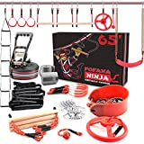 Fofana Ninja Warrior Obstacle Course for Kids – 43-Piece Outdoor Playset for Ages 6+ with 10 Unique Obstacles, 65 Ft. Slackline, and Easy-to-Adjust Carabiner Hooks – Sports & Outdoor Play Toys