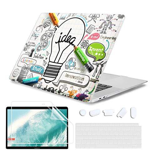 iCas MacBook Air 13 Zoll Hülle 2020 2019 2018 Release A1932 A2179 A2337 M1, Soft Touch Hartschale mit Schlüsselabdeckung und Displayschutz für 13 Zoll Apple Macbook Air mit Retina Touch ID, Birne