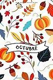 Octubre: cuaderno, bloc de notas, libro de recetas, libro de cocina, diario, diario de viaje, registro de jardinería, otoño, cosecha, festival de la cosecha, halloween, calabaza, estaciones
