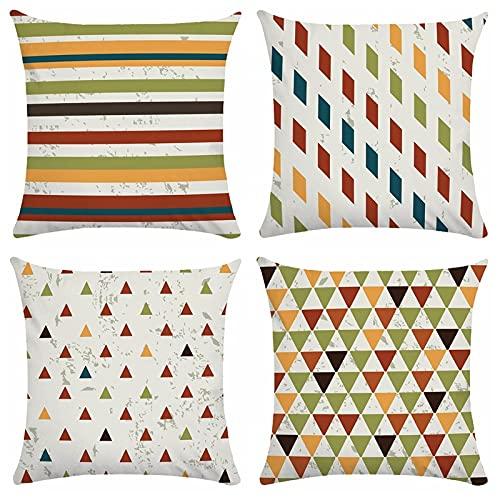 MWMG Cojin Sofa,Juego De 4 Piezas Moderno Triángulo A Rayas De Color Nórdico Suave Cómodo Estampado De Doble Cara Funda De Almohada Lumbar Cuadrada Funda De Cojín para Sofá Coches Jardín Al Aire Li
