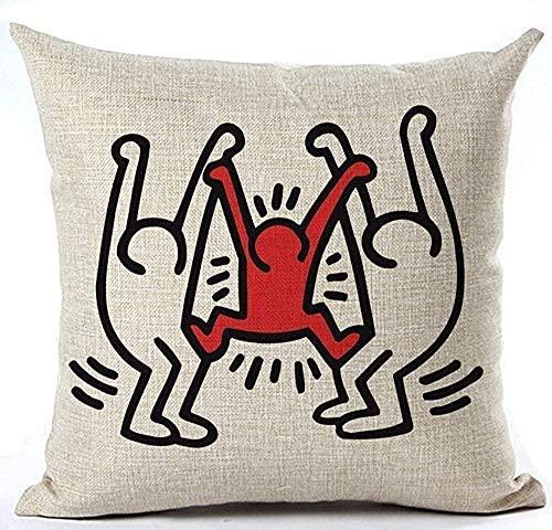 Yearinspace per7gper7g Keith Haring's Graffiti-Art stampa stile poliestere Throw federa cuscino federa cuscino decorazione casa ufficio quadrato