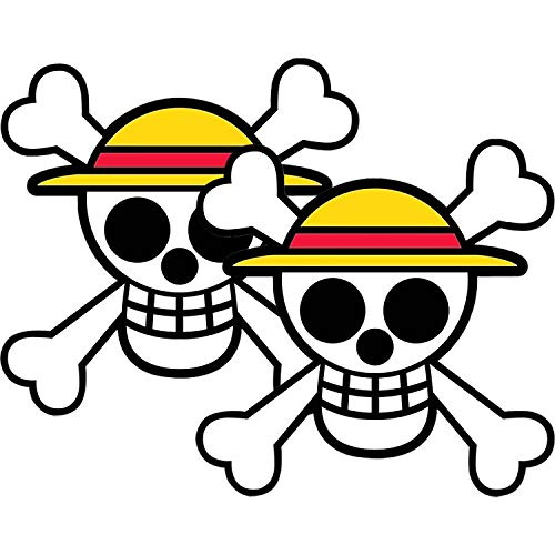 2 Pack One Piece Pirate Luffy's Straw Hat Pirate Anime Reflective Bumper Stickers 4.72X4.72 Inch ,Jolly Roger Cartoons Pirate Luffy Decals for Car Bumper Laptop Trucks Toolbox Window Waterproof and UV Fade Car Décor