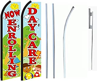 Car Wash Blue Standard Size Swooper Feather Flag Sign with Full Assembly Pole and Ground Spike Pk of 2