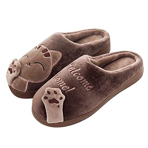 Mishansha Hausschuhe Herren Damen Winter Baumwolle Pantoffeln Indoor rutschfeste Slippers,Braun,43/44 EU