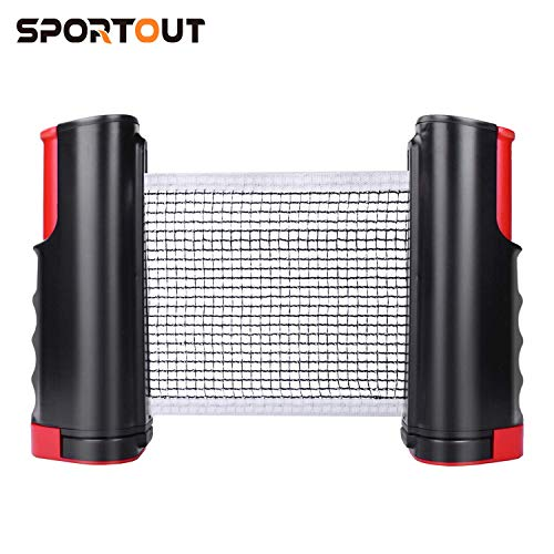 Sportout Retractable Ping Pong Net, Portable Table Tennis Net Rack, Perfect for Ping Pong Table, Office Desk, Home Kitchen or Dining Table (Black-red)