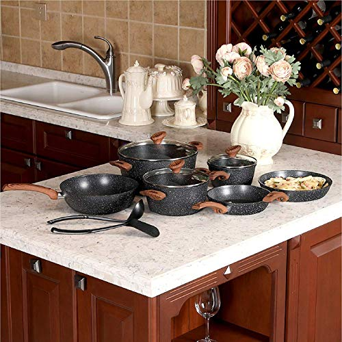 Kitchen Academy 12 Piece Nonstick Granite-Coated Cookware Set Suitable for All Stove Including Induction - Wooden Handle(Soft Touch)Dishwasher Safe