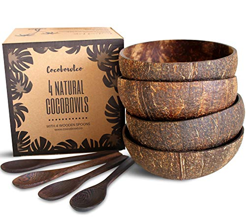 Coconut Bowls And Wooden Spoon Sets: 4 Vegan Organic Salad Smoothie or Buddha Bowl Kitchen Utensils (4, Natural)