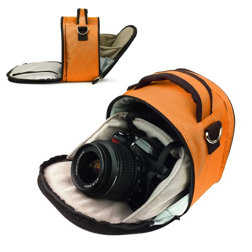 entry level slrs Vangoddy designed Orange Small DSLR & SLR Camera Bag, Laurel Luxury Design For all Canon SLR Entry Level or Professional Cameras with Unique Flip-out Compartment, Guaranteed Fit (EOS Rebel T3, T3i, T2i, T1i, XS, EOS 60D, 7D, 5D Mark III , 5D Mark II Full Frame CMOS, Camera body Only, Lenses, Grip, Camera Batteries, ect)