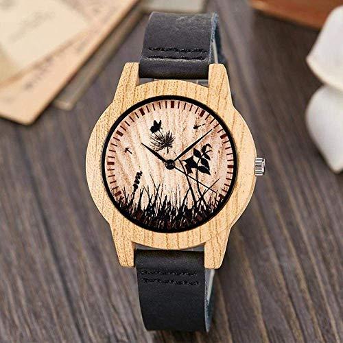 Mens Watches Wooden Watch Creative Life Tree Imitation Wood Watch Men Women Quartz Imitate Wooden Watch Soft Leather Band Wristwatch Male,Wristwatch