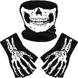 Tatuo Guantes de Esqueleto Blancos y Máscara de Calavera Disfraz de Mitad Huesos de Fantasma para Adultos Halloween Danza Fiesta de Disfraz (1 Juego, Estilo C)