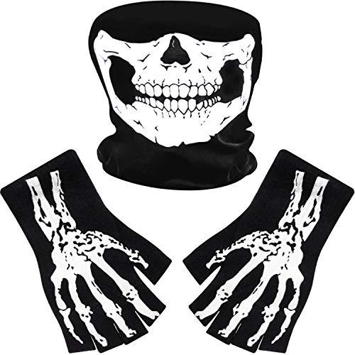 Tatuo Guantes de Esqueleto Blancos y Máscara de Calavera