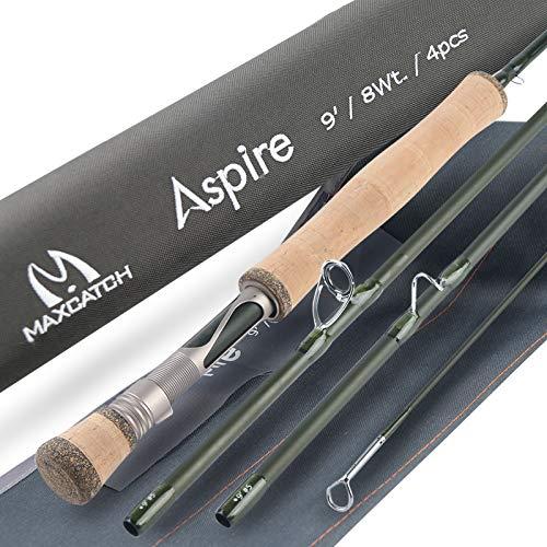 Maximumcatch Aspire Fliegenfischen Rute 40T Kohlefaser, mit eloxiertem Rollenhalter, 4 Teile, 5/6/8 WT (9ft 6wt)