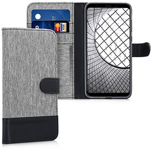 kwmobile Wallet Case Compatible with Xiaomi Redmi 5 Plus/Redmi Note 5 (China) - Fabric and PU Leather Cover with Card Slots and Stand - Grey/Black