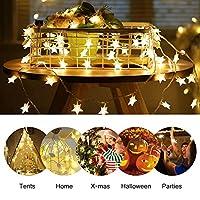 Nosii LEDストリングライト イルミネーションライト 電池式 6m 40LED クリスマスライト スター ストリングライト 星型装飾ライト カーテンライト フェアリーライト 誕生日 結婚式 クリスマス 新年 祝日 記念日 パーティー電飾 ウォームホワイト