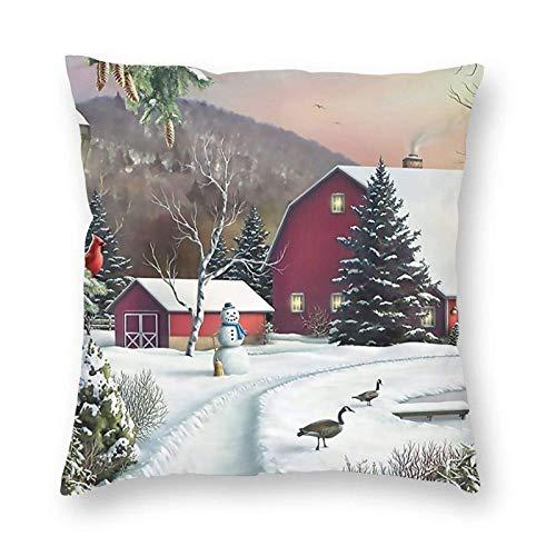 Gokruati Fundas para Cojines Granero nevado con pájaros Funda de cojín con impresión clásica de algodón Suave y poliéster 45 * 45 cm