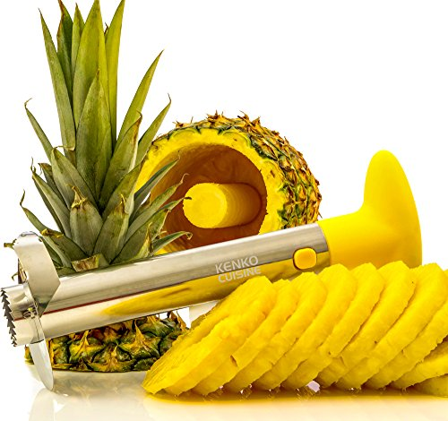 Cuisine Ninja Ananas-Entkerner Schneide Schäler-in Küche Gadget Professional Grade: Edelstahl Klinge Kerne Ananas in Minuten. schafft Gorgeous Ringe. Rezept E-Book enthalten.
