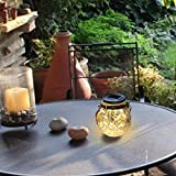 CORAL TREE Solar led lamp Crack Hanging Set of 2 Ball Glass jar- Outdoor Waterproof Glass Lantern Lawn Décor Yard and Lawn. (Warm White)