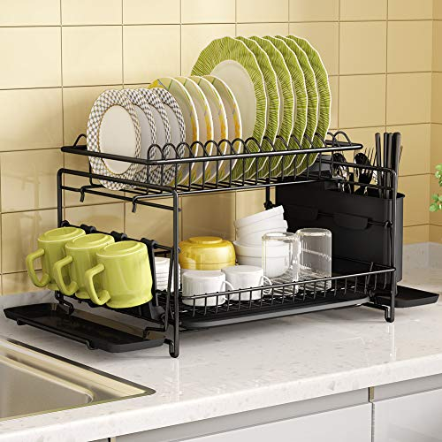 Dish Drying Rack 1Easylife 2 Tier Large Kitchen Dish Rack with Removable Drainboard Utensil Holder and Cup Holder Rustproof Nano Coating Dish Drainer for Kitchen Counter Dish Dryer Shelf Black