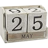 Juvale Calendar Block - Wooden Perpetual Desk Calendar - Home and Office Decor, 5.3 x 3.7 x 2.6...