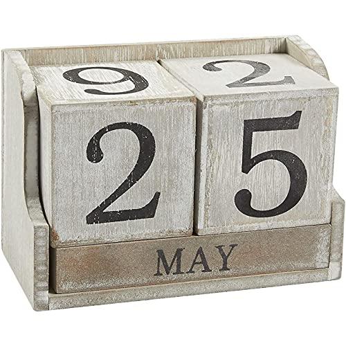 Juvale Calendar Block - Wooden Perpetual Desk Calendar - Home and Office Decor, 5.3 x 3.7 x 2.6 inches