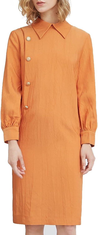 My Bun 2017 Autumn Women Polo Collar Long Sleeve Plus Size Loose Straight Casual Dresses
