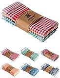 pamuq® hochwertige Geschirrtücher Baumwolle - 100% | 5er Set | 45x65cm mit Aufhänger | Vintage Look - kariert | Küchentuch Geschirrhandtuch Baumwolle Trockentuch Küche Torchon (Mehrfarbig)