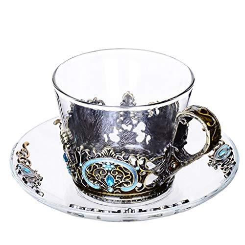 Grand motif en verre émaillé cristal transparent verre thé tasse à café tasse à café voyage poignée cadeau boîte 7,8 oz-1 pack cadeau (Couleur : Brass)