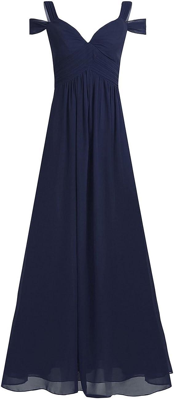 ACSUSS Women's Floor Length Off Shoulder Sweetheart Split Hem Flowy Chiffon Evening Dress